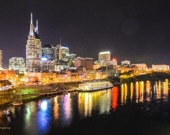 City Skyline Prints, City Photography, Downtown Nashville, City Landscapes, City at Night, Music City, Home Decor, Tennessee, Cityscapes