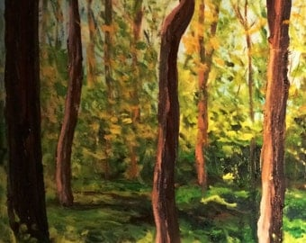 Landscape oil painting with forest