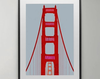 Golden Gate Bridge Print, Illustration, San Francisco Art, print, Poster, Wall Decor, Modern Wall Art, Instant Download, Home decor.