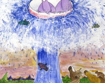 The Geysir, illustration, childrens art, childrens wall decor, nursery decor.