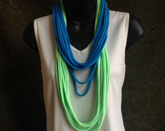 multi strand spring green and turquoise tshirt necklace