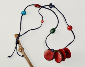 Tagua necklace, garnet necklace, navy cord necklace, organic jewelry, long acai necklace, organic jewelry, vegetable ivory, boho gift.