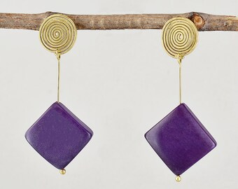 Purple bead earrings, tagua nut studs, vegetable ivory, spiral jewelry, women gift under 30, carved earring, organic ornament.