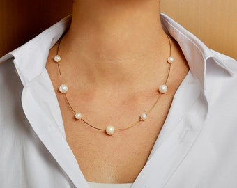 White pearl necklace, dainty necklace, simple choker, bridesmaids jewelry, wedding collar, Christmas gift for her, present under 20.