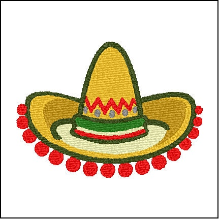 Sombrero Mexican Hat Embroidery Design