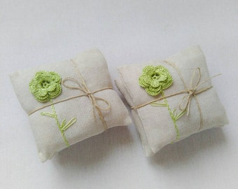Lavender sachets, set of 2,  wedding favors, crochet favors, lavender pillows, lavender fragrances, crochet sachet lavender