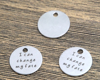 10pcs I can change my fate charm silver tone message charm pendant 20mm D2104