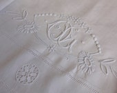 Pure Linen French Antique Embroidered Bedsheet -  OL monogram