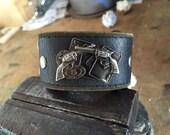 Six Gun Revolver Men's leather bracelet cuff - Western Gift, Gambler Gift,  chunky bracelet, country bracelet, country cuff