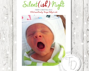 Silent Night Christmas Card, Baby Christmas Card, Simple Christmas Card, Baby Photo Christmas Card, Modern Holiday Card, Baby Announcement