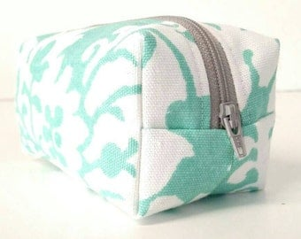 Aqua/blue/green/white floral makeup/cosmetic/toiletry/travel/accessory case/bag/storage/pouch