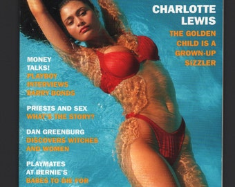 Mature Vintage Playboy Mens Girlie Pinup Magazine : July 1993 Charlotte Lewis VG White Pages Intact Centerfold
