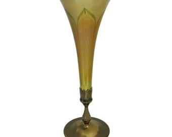 L.C.T. Tiffany Favrille Glass and Bronze Vase