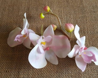 Pink and white orchids loose fabric flowers