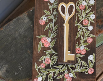 My Secret Garden Wood Sign with Key