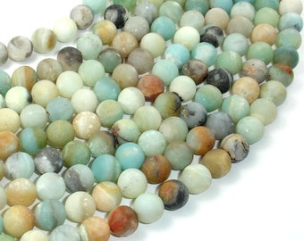 Matte Amazonite Beads, 8mm(8.7mm) Round Beads, 15 Inch, Full strand, Approx 46 beads, Hole 1 mm, A quality (111054027)