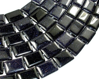 Blue Goldstone, 13 x 18mm Rectangle Beads, 15.5 Inch, Full strand, Approx 22 beads, Hole 1 mm (164033001)