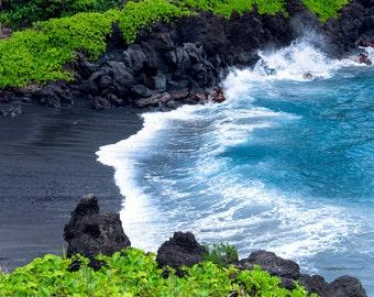 Black Sand Beach, Maui Hawaii, Tropical Decor, Aqua Blue Ocean Picture, Wave Photograph, Coastal Seascape Living Room Bedroom Bath Art Print