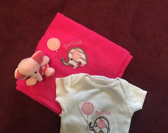 Elephant applique onesie and blanket
