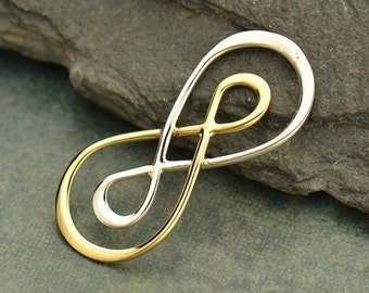 Mixed Metal, Silver and Bronze, Infinity Link, Mixed Metal Pendant, Infinity Necklace, Infinity Charm, Jewelry Findings, Jewelry Supplies