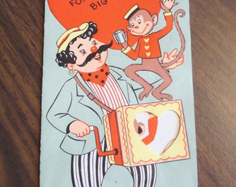 Vintage Valentine, USED, 1950s, no envelope, organ grinder, monkey, Ranch House Vintage
