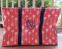 Coral Arrow Large Utility Tote/Tote Bag with Navy Handles - Personalized/Monogrammed