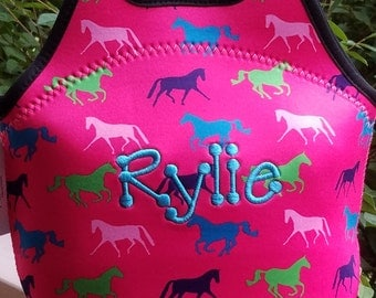 Pink Neoprene Lunch Bag/Tote with Horses - Personalized/Monogrammed