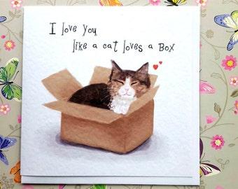 I love you like a cat loves a box Greetings Card