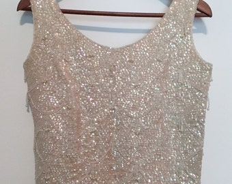 Iridescent Sequined and Beaded Top
