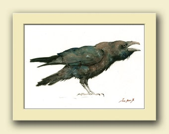 Raven painting - Crow bird art - raven art - Bird nursery decor - crow watercolor - raven art - Original watercolor painting - Juan Bosco