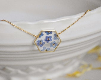 Forget me not necklace Gold plated 16 K Myosotis jewelry Hexagonal pendant Crewneck Geometrical necklace Natural gift  for Christmas