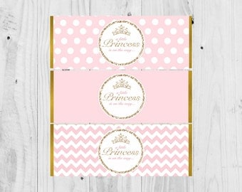 Printable Hershey Chocolate Wrapper Printable Baby Shower - It's a Girl Princess Themed Instant Download