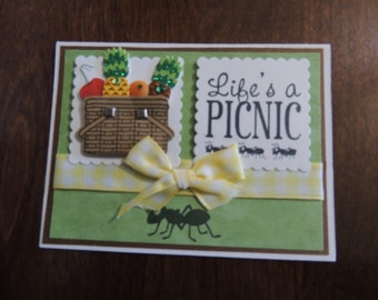 Handmade Card, Hand Stamped Card, Any Occasion Card, Picnic Basket Card
