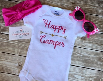 Happy Camper baby outfit, baby camping shirt, baby shower gift, baby camping outfit, infant outfit, infant onesie, baby showergift