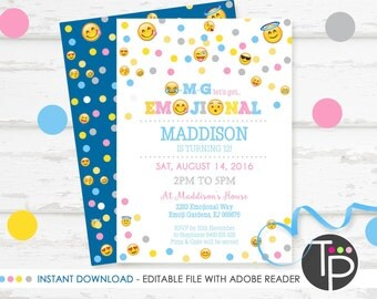 EMOJI Invitation, INSTANT DOWNLOAD Emoji Invitation, Emoji Party, Emoji Party Invitation, Emoji Printable, Edit yourself with Adobe Reader