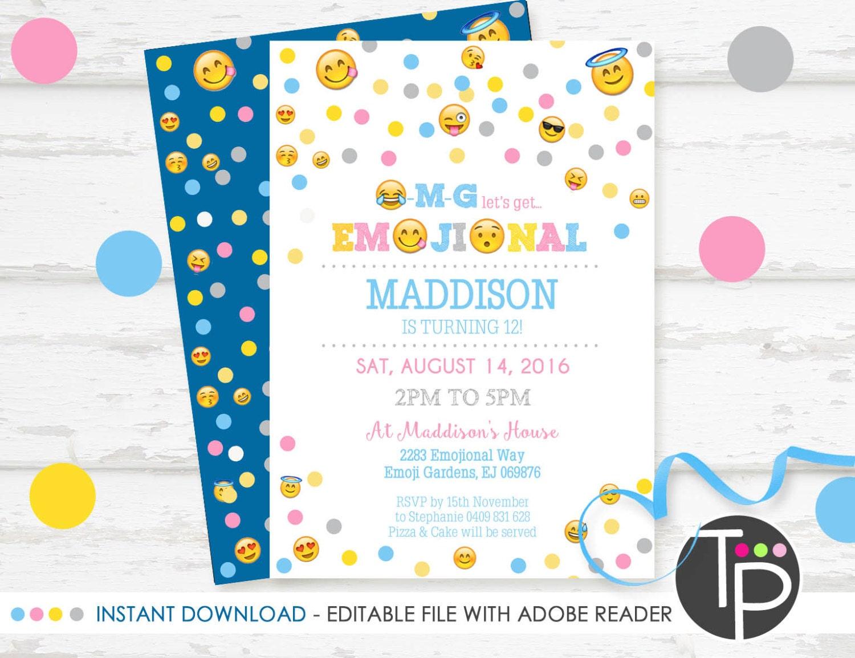 EMOJI Invitation INSTANT DOWNLOAD Emoji Invitation Emoji