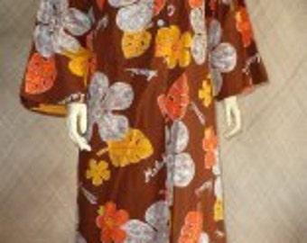 1960's Full Length Brown Hawaiian Dress