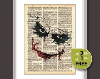 Vintage dictionary print, Vintage art print, Joker Painting, Batman movie poster, Joker print, Birthday gift, gift for man,wall hinging,3607