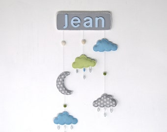 Baby name - wall art clouds and moon ornaments decoration