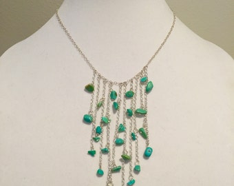 "Turquoise beaded ""tassel drop"" necklace on sterling silver plated chain"