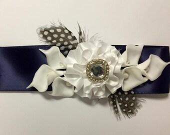 Flower girl sash navy blue, flower girl belt, flower girl wedding sash, flower girl bridal belt