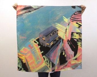Designer silk twill scarf / brand Avalele / 90x90cm / London #4