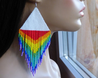 NEW! Rainbow Earrings. Native American Beaded Earrings Inspired. Very Large Earrings.  Dangle Long Earrings. Beadwork