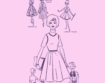 Instant PDF Download Vintage Sewing Pattern to make A Selection of College Campus Clothes for 11.5 inch Teenage Dolls Such as Barbie