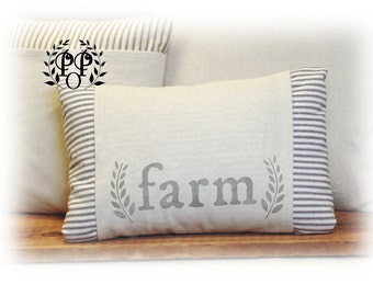 Farmhouse Farm Pillow Cover, Ticking stripe, Home decor