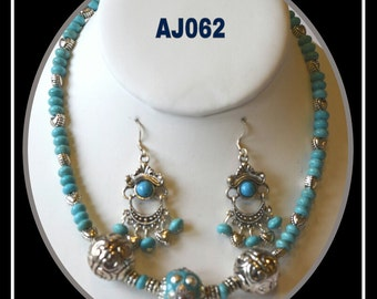 AJ062 - Turquoise and bali beads necklace set.