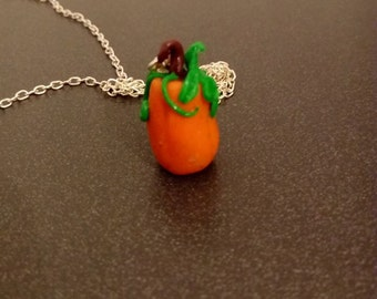 pumpkin necklace, polymer clay necklace, polymer clay jewelry, pumpkin jewelry, autum jewerly, halloween jewelry,nature jewelry,