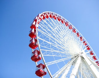 Color Photography, Ferris Wheel, Navy Pier, Perspective, Abstract Art