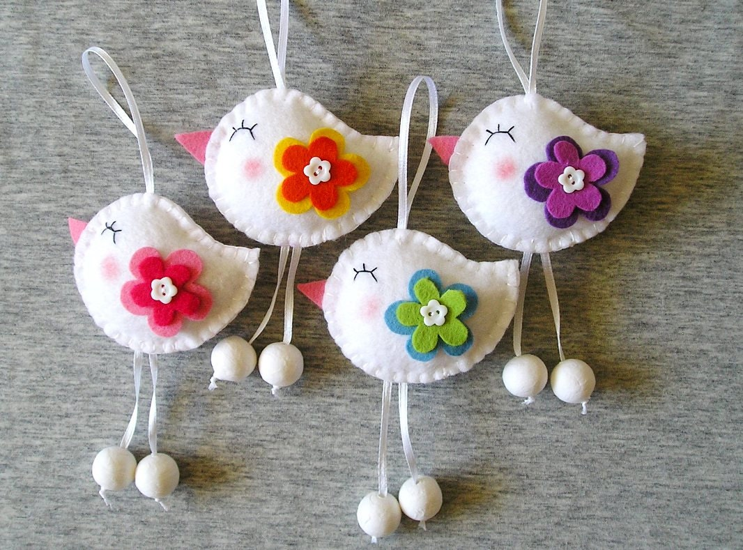 Spring Birds Felt Ornaments Cute Home Decor Funny Flowers