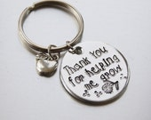 Teacher Gift Keyring with apple charm  Thank You For Helping Me Grow  Aluminium Key Fob